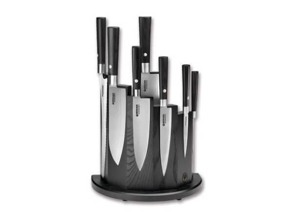 Kitchen Knife, Black, Fixed, Damascus, Pakka Wood