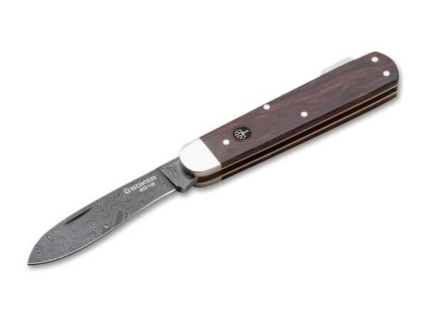 Pocket Knife, Brown, Nail Nick, Backlock, Damascus, Desert Ironwood