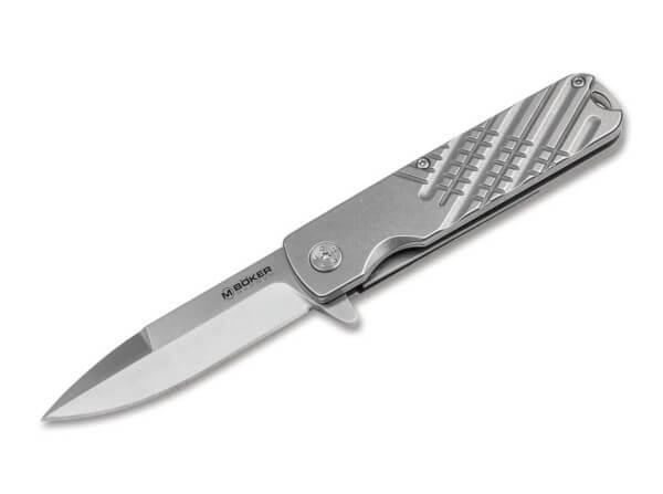 Pocket Knife, Silver, Flipper, Linerlock, 8Cr13MoV, Stainless Steel