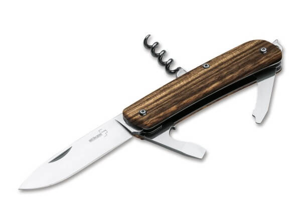 Pocket Knife, Brown, Nail Nick, Slipjoint, 12C27, Zebrawood
