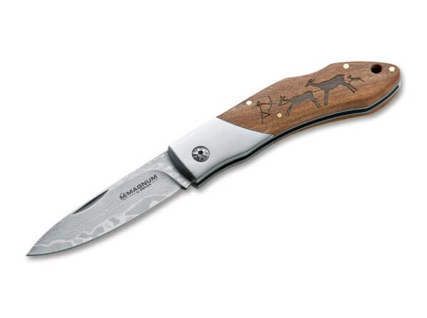 Pocket Knife, Brown, Nail Nick, Backlock, Damascus, Wood
