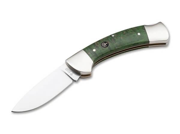 Pocket Knife, Green, No, Backlock, 440C, Curly Birch Wood