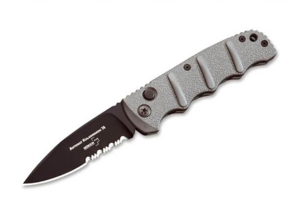 Pocket Knife, Grey, No, Push Button, AUS-8, Aluminum