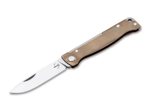 Pocket Knife, Gold, Nail Nick, Slipjoint, 12C27, Brass