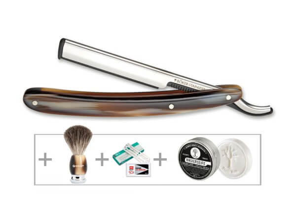 Razor Blade Holder, Brown, Stainless Steel, Synthetic Horn