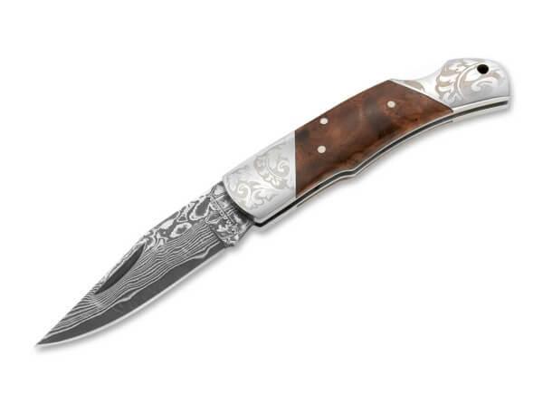 Pocket Knife, Brown, Nail Nick, Backlock, Damascus, Wood