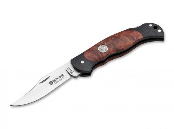 Pocket Knife, Brown, Backlock, N690, Curly Birch Wood
