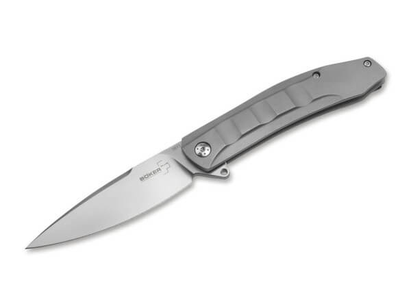 Pocket Knife, Grey, Flipper, Framelock, D2, Stainless Steel