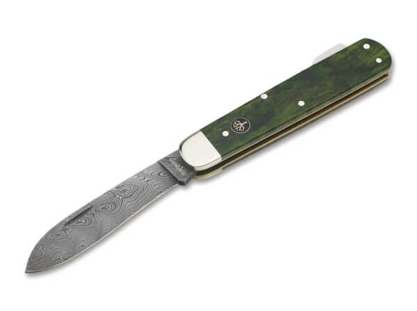 Pocket Knife, Green, Nail Nick, Backlock, Damascus, Curly Birch Wood