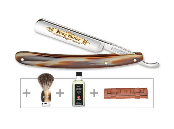 Straight Razor, Brown, Carbon Steel, Synthetic Horn