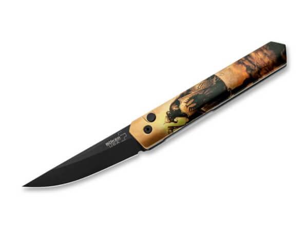 Pocket Knife, Multicolored, Push Button, Push Button, 154CM, Aluminum
