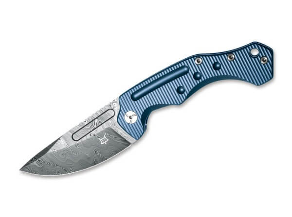 Pocket Knife, Blue, Thumb Hole, Framelock, Damascus, Titanium