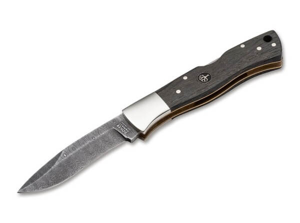 Pocket Knife, Brown, No, Backlock, Damascus, Bog Oak Wood