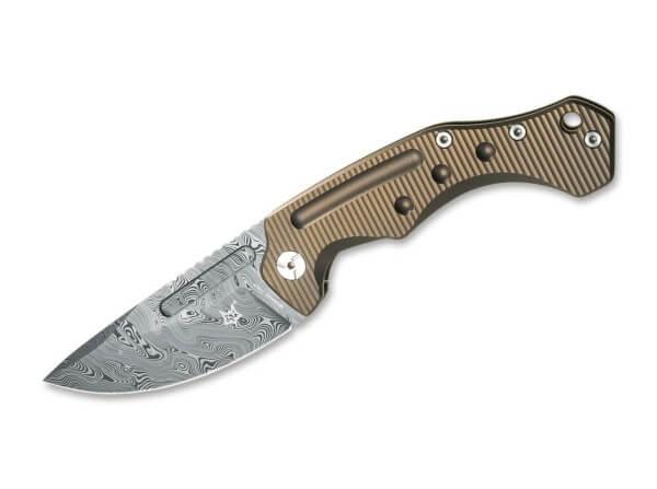 Pocket Knife, Desert Tan, Thumb Hole, Framelock, Damascus, Titanium