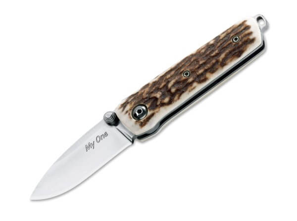 Pocket Knife, Brown, Thumb Stud, Backlock, N690, Stag