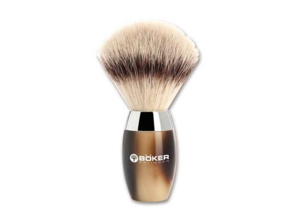 Shaving Brush, Brown, Synthetic Horn