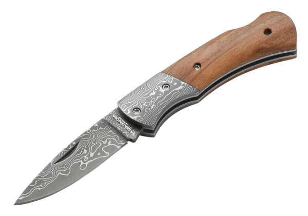 Pocket Knife, Brown, Nail Nick, Backlock, Damascus, Olive Wood
