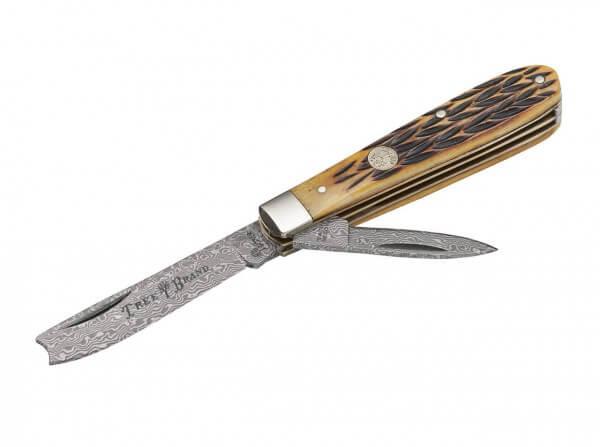 Pocket Knife, Brown, Nail Nick, Damascus, Jigged Bone