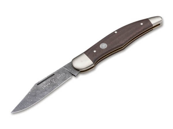 Pocket Knife, Brown, Nail Nick, Slipjoint, Damascus, Chestnut Wood