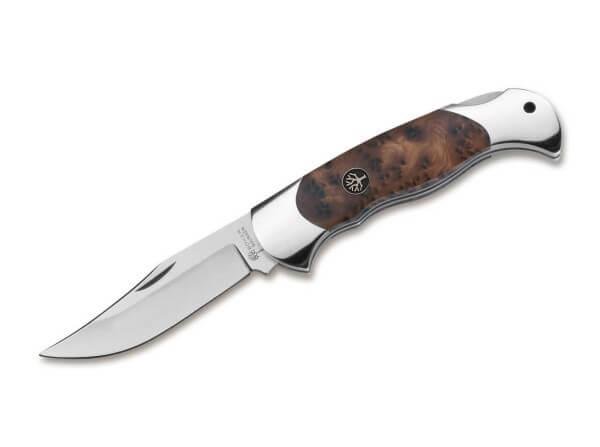 Pocket Knife, Brown, Nail Nick, Backlock, N690, Thuja Wood