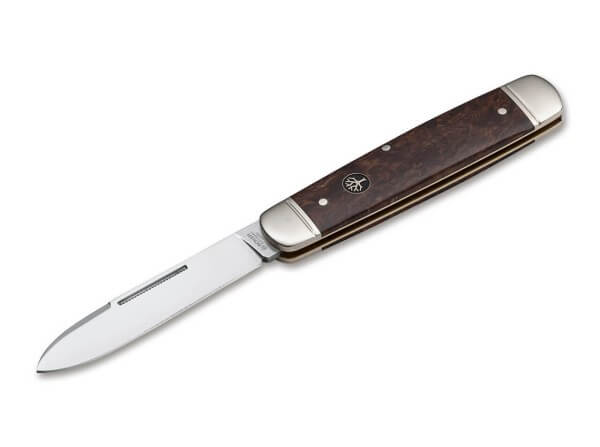 Pocket Knife, Brown, Nail Nick, Slipjoint, N690, Curly Birch Wood